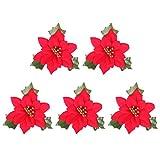 Holibanna künstliche weihnachtsblumen roter weihnachtsstern glitter puder dekorativ mit grünen blättern kranz weihnachtsbaum material 10 stück