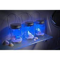 Juego de 3 linternas con forma de tarros de cristal con luces que cambian