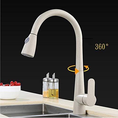 Ausziehbarer Küche Wasserhahn 360° Drehbar Küchenarmatur-spültischarmatur Mit Herausziehbarer Geschirrbrause Einhebel Mischbatterie Spüle (Color : Oatmeal) (Copper Granit-spüle)