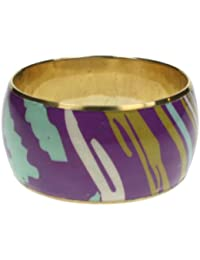 Wide brass bangle with abstrct pattern design in purple and turquoise 568-gw