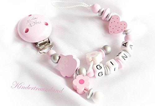 Preisvergleich Produktbild Schnullerkette mit Namen, Eule, Blume, Mädchen, rosa, kleine Diva, Herz, Taufe