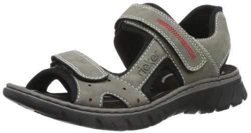 Rieker 26784 Sandals-Men, Herren Sandalen, Grau (cement/rot/schwarz/41), 43 EU