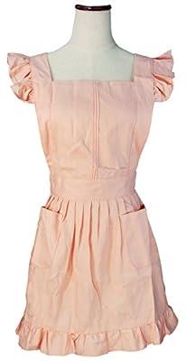 LilMents Dienstmädchen Rüschen Retro Schürze Küche Kochschürze Kochen Putzen Küchenschürze Kostüme