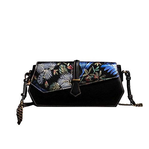 Leathario Borsa di Vera Pelle da Donna Mano Spalla Classico Vintage Estate Elegante Dipinta Lussuosa nero