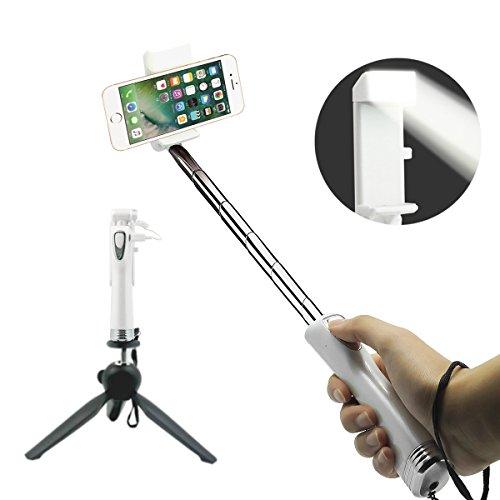 CXG Bastone Selfie Bluetooth,Extendable con Specchio Riflettente Selfie Stick Luce Notturna a LED[Può inviare un segnale SOS]Wireless Monopod per iPhone,Huawei,Samsung e Molti altri Smartphone