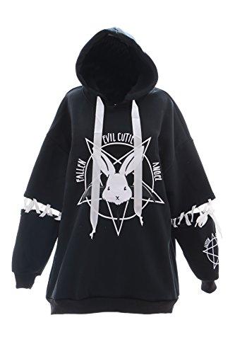 TS-38 Evil Bunny Teufel Hase Rabbit schwarz Oversize-Look Kapuzen Sweatshirt Pullover Pastel Goth Lolita Harajuku Japan (Kapuzen-sweatshirt Bunny)