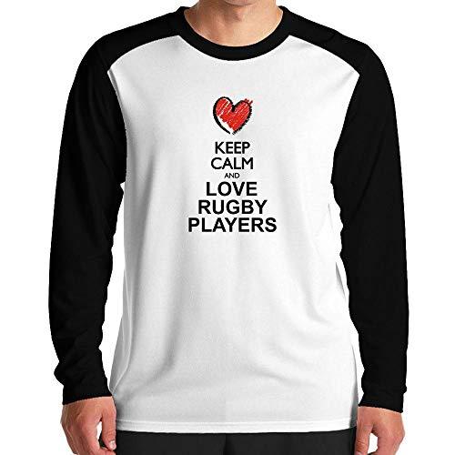 Idakoos Keep Calm and Love Rugby Players Chalk Style Raglan Langarm T-Shirt M -
