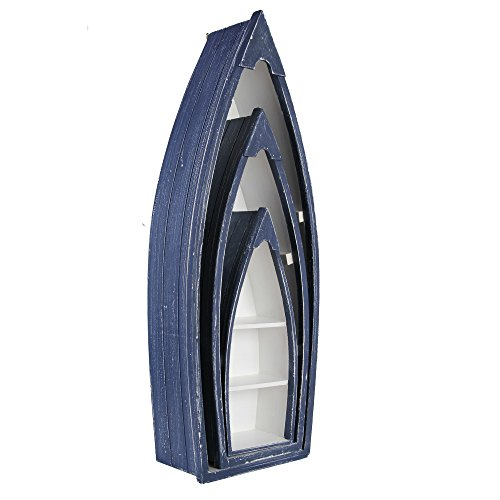 BE LEAF'S Pine Cabinet Furniture - 2 Stück-Paket, blau und weiß, Boot-Stil, für Wohnzimmer Schlafzimmer Flur - Sideboard Schrank Regal Rack Storage Organizer