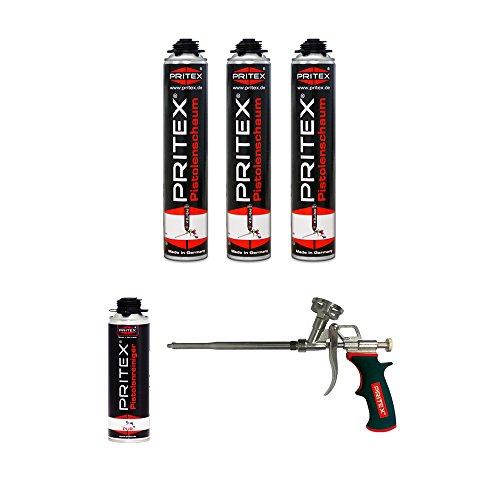 XL Set 3 x 750ml Pistolenschaum + 1 Reiniger + 1 Schaumpistole Montageschaum Bauschaum
