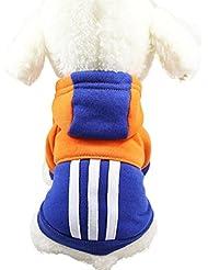 sudadera con capucha para pequeño perros accesorios ropa Sannysis camisetas a rayas polar suéter ropa caliente suéter de invierno mascotas accesorios gatos apparel barato (S, Azul)