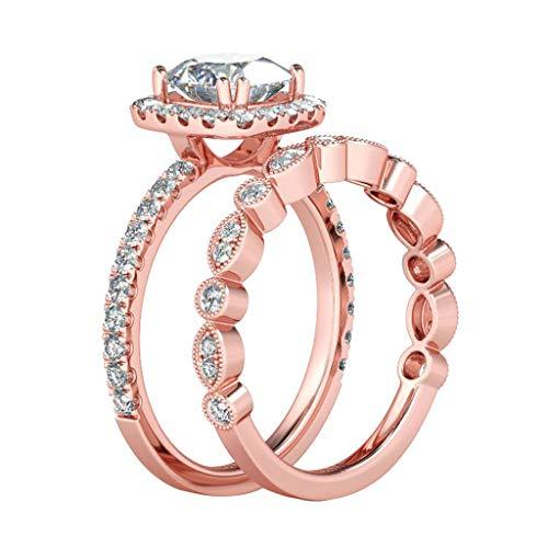 Sisit Vintage Halo 2 Stück Ehering Runde Zirkonia Rose Tone Plated Hochzeit Engagement Paar Stapeln Ring Set Frauen Schmuck (Abmessungen;10)