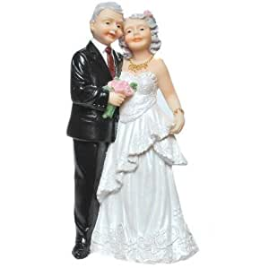 Tortenaufsatz Deko Brautpaar älteres Brautpaar Goldene