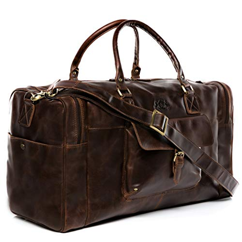 SID & VAIN Weekender YALE - Herren Reisetasche groß Ledertasche - Sporttasche im Vintage-Look Herrentasche echt Leder braun-cognac