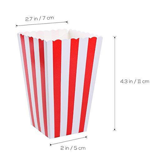 NUOLUX Porte-boîtes de boîtes de popcorn Conteneurs Cartons Sacs en papier Boîte à rayures, rouge et blanc, 24pcs