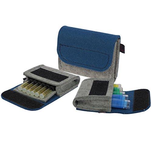 Premium Taschenapotheke von ebos | echter Wollfilz | 6 Schlaufen für Globuli-Röhrchen | Globuli-Tasche, Globuli-Etui, Globuli-Mäppchen zur Aufbewahrung von homöopathischer Hausapotheke | jeansblau