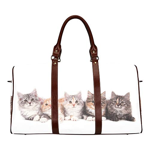 Travel Duffel Bag Group of Small Striped Kittens Cats In A Basket Waterproof Weekender Bag Overnight Carryon Hand Bag Women Ladies Tote Bag with Microfiber Leather Luggage Bag