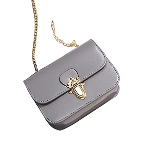 ESAILQ Fashion Women Leather Chain Flap Handbag Crossbody Shoulder Messenger Phone Coin Bag (Gray)