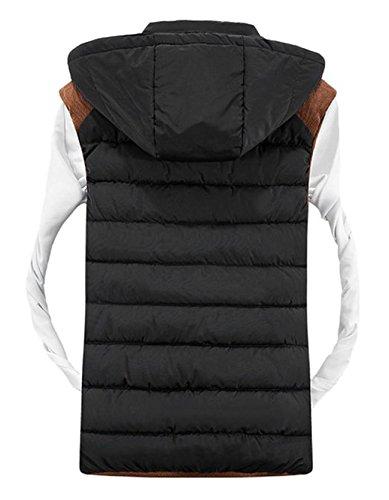 Tailloday Herren Kapuzenweste sport casual Weste ärmellose Daunenweste Jacke Winter Hooded mit Reißschluss Schwarz