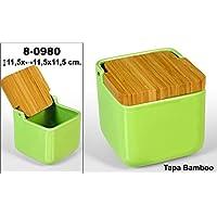 DonRegaloWeb - Salero cuadrado de cerámica con tapa de madera decorado en color ...