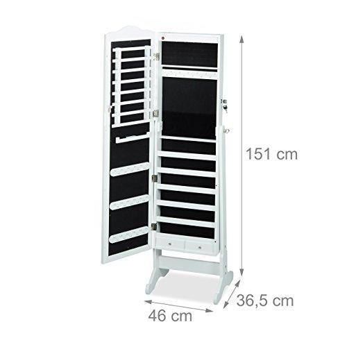 Relaxdays Schmuckschrank Spiegel zum Stellen, Schmuckkasten abschließbar, Spiegelschrank LED, HBT: 151x46x36,5 cm, weiß - 3