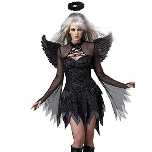 Halo Kostüm Jungen - BaojunHT Schwarz Dark Angel Halloween Kostüm Minikleid mit Feenflügeln und Halo Party Kostüm Set für Damen, Schwarz, Large