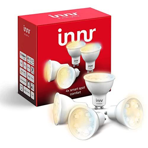 Innr GU10 4-pack ampoules LED connectées, blanc chaud, réglable 2200K - 5000K (Philips Hue* compatible, hub connecté requis) RS 228T-4