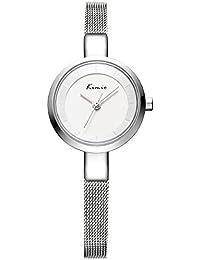 Alienwork Reloj cuarzo pulsera cadena envolver cuarzo elegante moda Metal plata plata YH.KW6115S-02