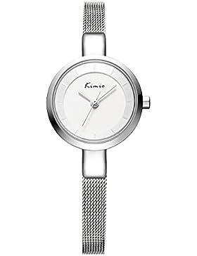 Alienwork Quarz Armbanduhr Armreif Kette wickeln Quarzuhr Uhr elegant modisch Metall silber YH.KW6115S-02