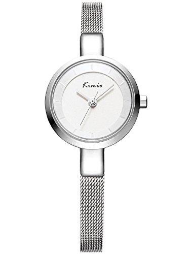 Alienwork Montre quartz bracelet chaîne emballage quartz élégant mode Métal argent argent YH.KW6115S-02