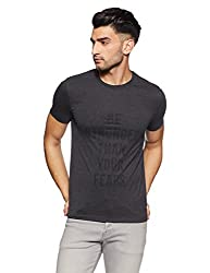French Connection Mens Printed Slim Fit T-Shirt (56IGS-CHARCOAL MELANGE_Medium)