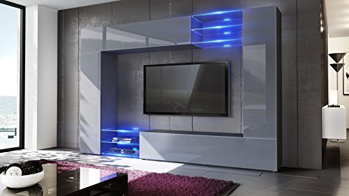Wohnwand grau –  inkl. LED Beleuchtung - 2