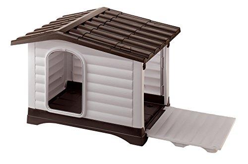 Ferplast 87257099 Caseta de Exterior para Perros Dogvilla 110, Panel Lateral Que Se Puede Abrir, Robusto Plástico Resistente A Los Golpes y A Los Rayos UV,...