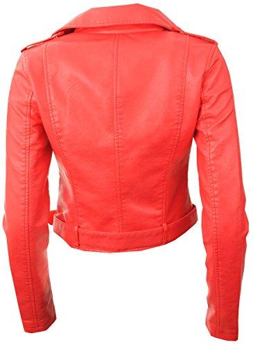 GG Femmes Nouvelles Faux Cuir Zip Crop Ladies Biker Veste Manteau Corail