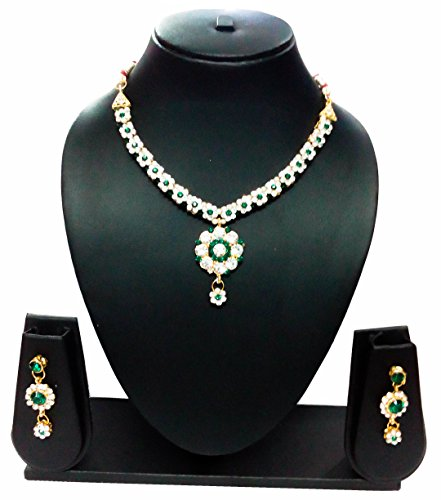 KAAYRA Designer Gold Plated, Diamond & Pearl Studded Green Necklace Set With Earring For Girls And Women  available at amazon for Rs.245