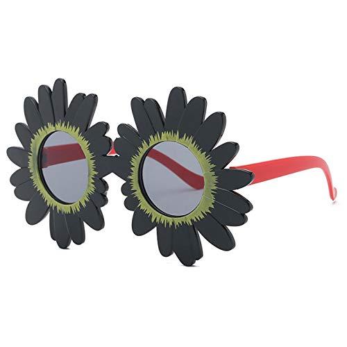 Daawqee NEW Lovely Kids Sunflower Shapes UV400 Round Lens Cool Sunglasses Cosplay Dancing Stage Glasses Girls Eyewear N178 n178 Black
