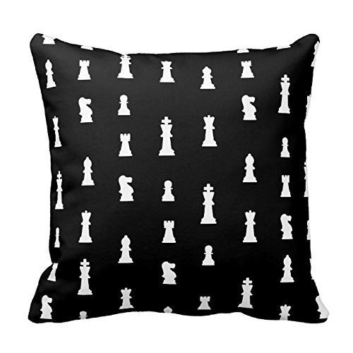 38c783b04b90 vintage cap Chess Pieces Pattern - Black and White Throw Pillow Cover For  Living Room