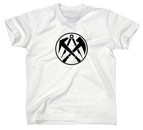 Dachdecker Zunft Logo T-Shirt, Zunftzeichen Zunftlogo Symbol, L, weiss