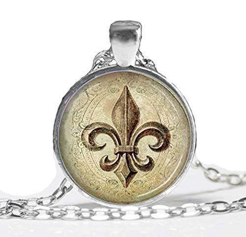 VAWAA Art Glass Necklace Fleur De Lis Halskette Bronze. Lily Blume. Anhänger. Charme. Kunst. Bild Glass Dome Pendant - Bronze Fleur De Lis