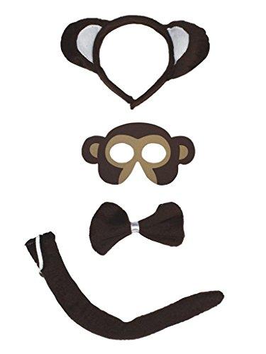 d Bowtie Schwanz Maske 4pc Kostüm Einheitsgröße Affe ()