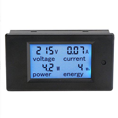 DROK® Multimeter Digital AC 80-260V 100A Energy Monitor Voltmeter Amperemeter Leistung Panel Meter Zähler Elektrizität LCD Hintergrundbeleuchtung blau Anzeige mit Trafo CT -