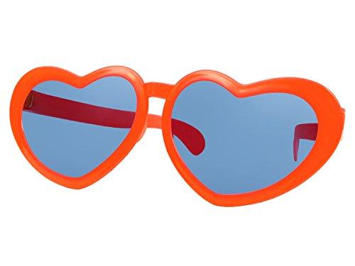 Alsino Funbrille Sonnenbrille Partybrille Riesenbrille Spaßbrille Herz Karneval Fasching Party F-054, wählen:orange