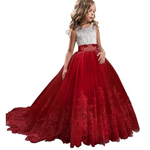 NNJXS Mädchen Spitze Tüll Gestickte Prinzessin Prom Ballkleid Formale Partei Lang Schwanz Kleider (Color : Red, Size : (Prinzessin Braut Kleid Kostüm Red)