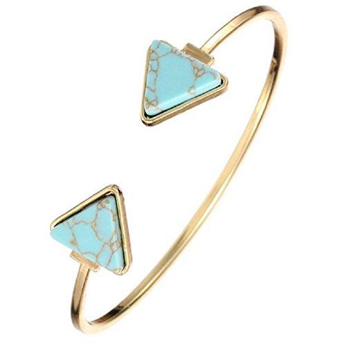 WINWINTOM Retro- Armband Dreieck Marmor Türkis Stein Stulpe Armband Schmucksachen Blau (Dreieck-spitze Gesetzt)