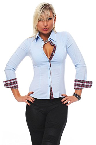 10276 Fashion4Young Damen Langarm Businessbluse Bluse Hemd Business Eleganz Hemdbluse elastischem Stretch Hellblau