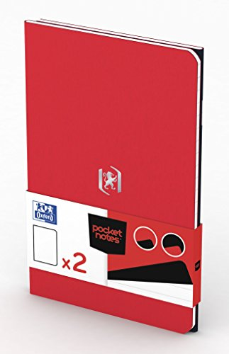 OXFORD 400077718 Notizheft Pocket Notes Duo-Pack 2 Stück 9x14 cm 48 linierte Seiten rot und schwarz - für individuelle Notizen Skizzenbuch Taschenbuch Reisebuch Notizblock Notebook Travel Diary - Rot-taschenbuch