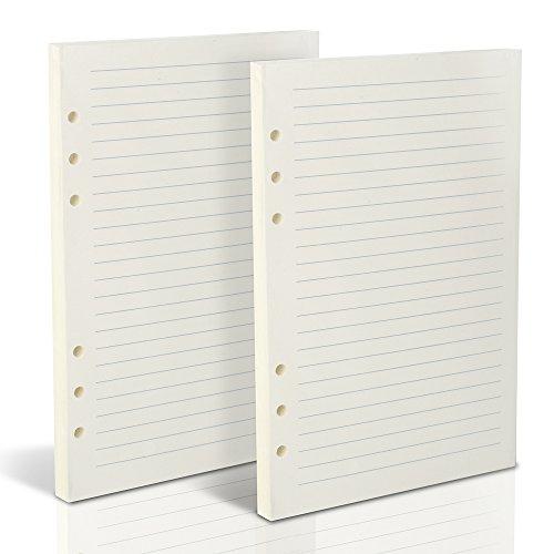 Teenitor - 160 hojas de recambio de papel forrado, A5(21 x 14 cm), relleno de piel para diario, 6 agujeros, 320 páginas para viajes, rellenable, cuaderno de papel, cuadernos, agenda de planificación, papel rayado