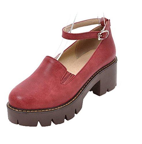 Voguezone009 donna puro luccichio tacco medio punta tonda fibbia ballet-flats, rosso, 39