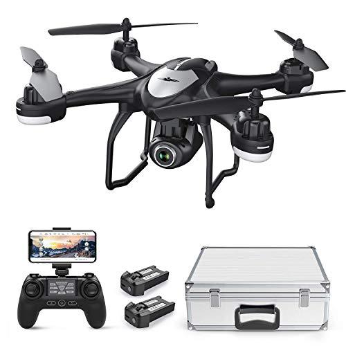Potensic Drone con cámara 1080P HD, T18 GPS FPV RC Quadcopter con cámara WiFi de Gran Angular Ajustable, Retorno automático a casa, retención de altitud, sígueme, 2 baterías y Estuche de Aluminio