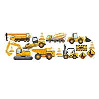 Amosfun Construction Vehicles Wall Stickers Truck Digger Engineering Car Wall Decals Peel Stick Removable Wall Stickers for Home Bedroom Living Room