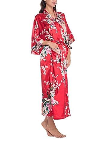 Cliont Damen Kimono Bademantel Pfau und Blüten Satin Nachtwäsche Nightgown Long Style